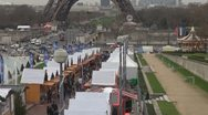 Stock Video Footage of Christmas market and Eiffel tower