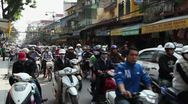 Stock Video Footage of Everyday city life with people and traffic, Hanoi, Vietnam, Asia