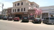 Stock Video Footage of Looking across Main Street with pink blossoms along the sidewalk (1 of 2)