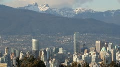 Vancouver Canada Skyline Panoramic View with Mountains Stock Footage