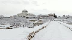Cathedral in winter, St. Vladimir's Cathedral, Chersonese, Sevastopol, Ukraine Stock Footage
