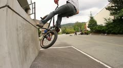 BMXer Crash Lands on Crotch Stock Footage