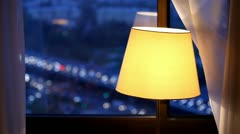 Lamp and curtain at the night road background Stock Footage