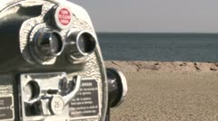 Pay per view binoculars over looking the beach (3 of 3 Stock Footage