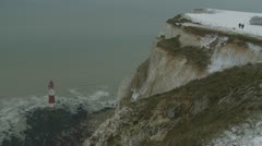 Beachy Head in snow (six) Stock Footage