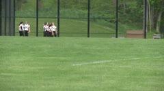 Girls softball team at practice Stock Footage