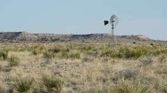 Texas Panhandle Landscape with Wind Mill - stock footage