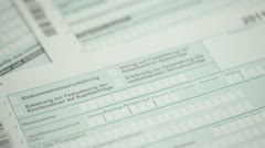 German tax form and Euro money Stock Footage