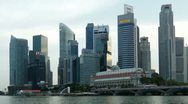 Stock Video Footage of Singapore business center, time-lapse with zooming