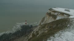 Beachy Head in snow (four) zoom Stock Footage