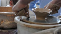 Learning pottery producing Stock Footage