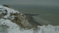 Beachy Head in snow (two) Stock Footage