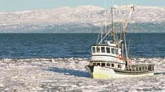 Alaskan Fishing Boat Approaching Icy Harbor 5 Stock Footage