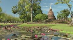 Thailand Sukhothai Wat Sa Si Stock Footage