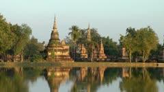Wat Mahathat at Sukhothai Historical Park, Thailand Stock Footage