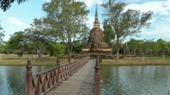 Thailand,Sukhothai Historical Park,Wat Sa Si Stock Footage