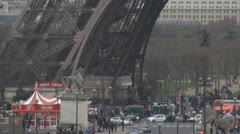 Eiffel Tower and traffic car - stock footage
