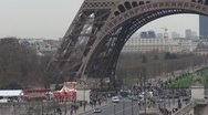 Eiffel Tower and traffic car Stock Footage