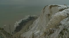 Beachy Head in the snow (one) Stock Footage