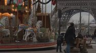 Amazing Eiffel Tower with carousel Stock Footage