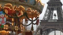 Amazing Eiffel Tower with empty carousel Stock Footage