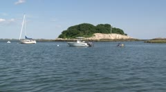 A small tree lined island with boats moored in front (1 of 3) Stock Footage