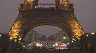 Amazing Eiffel Tower and Champ de Mars by night light illuminated twilight paris Stock Footage