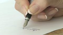 Signature with fountain pen 01 Stock Footage