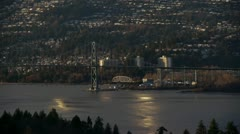 Lions Gate Bridge At Sunset Stock Footage