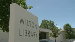 Wilton library sign Stock Footage