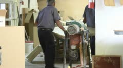 Wood Table Being Carried Factory Workers Wood Shop Stock Footage