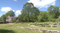 Barn with stone walled garden (2 of 2) Stock Footage