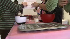 Children at baking class Stock Footage