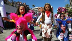 Carnival time! Carnival of the sun entering Park Sta Catalina Stock Footage