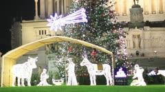 Christmas in Rome - Venice Square - Piazza Venezia Stock Footage