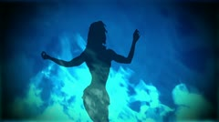 Adult Girl B flames blue 03 Stock Footage