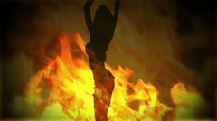 Adult Girl B flames 01 Stock Footage