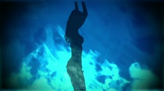 Adult Girl B flames blue 01 Stock Footage