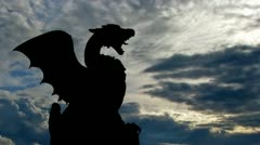 Slovenia Dragon bridge and monument clouds - stock footage