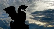 Stock Video Footage of Slovenia Dragon bridge and monument clouds