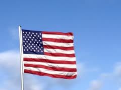 Drive by USA Flags Stock Footage