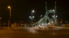 Liberty bridge, Hungary Stock Footage