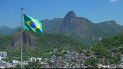Flag of Brazil in the city of Rio de Janeiro - stock footage