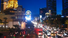 Las Vegas 4 Strip Sunset Time-Lapse Stock Footage