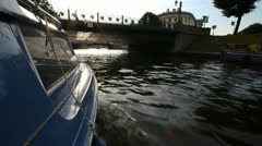 Walking on a boat in St. Petersburg Stock Footage