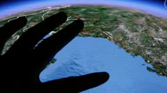 Touch globe gps map on ipad. Stock Footage
