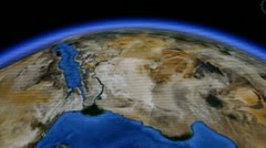 Touch globe map on ipad,drag to arctic&antarctic,many snow ice & trench. Stock Footage