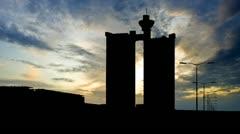 Serbia Novi Beograd Zapadna kapija blue sunset Stock Footage