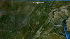 Touch globe map on ipad,from Washington to Korea. Stock Footage