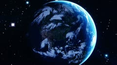 Touch globe map on ipad,planet in universe. Stock Footage